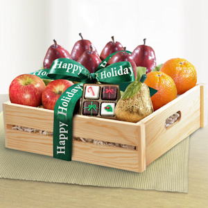 Happy Holidays Fruit and Chocolates Gift Crate imagerjs