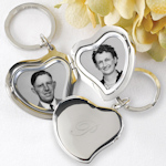 Engraved Initial Heart Locket Keychain