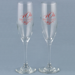 40th Anniversary Champagne Toasting Flutes imagerjs