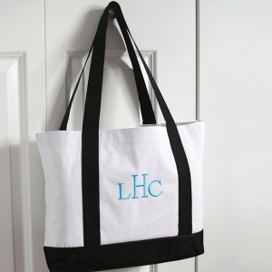 Personalized White & Black Canvas Totes imagerjs