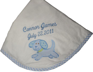 Personalized Blue Puppy Receiving Blanket imagerjs