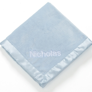 Personalized Ultra Plush Blue Baby Blanket imagerjs