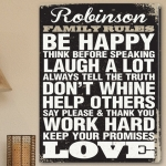 Personalized Rustic Family Rules Canvas Print