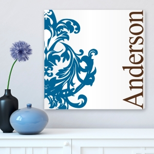 Personalized Blue and Brown Flourish Canvas imagerjs
