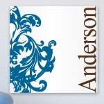 Personalized Blue and Brown Flourish Canvas