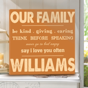 Personalized Family Rules Canvas Print imagerjs