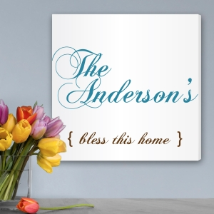 Simple Bless this Home Personalized Canvas imagerjs