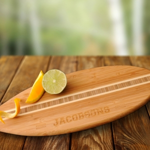 Personalized Bamboo Surfboard Cutting Board imagerjs