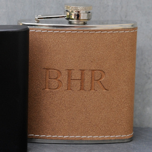 Personalized Tan Hide-Stitch Flask imagerjs