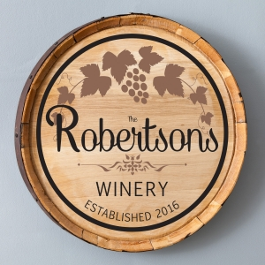 Personalized Cabernet Wine Barrel Home Decor Sign imagerjs