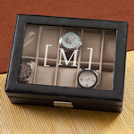 Monogrammed Leather Watch Case