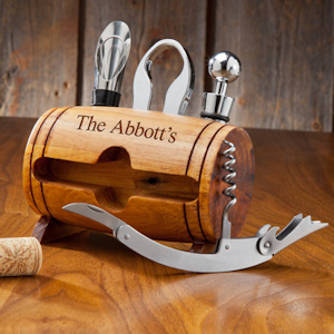 Personalized Wine Barrel Accessory Set imagerjs
