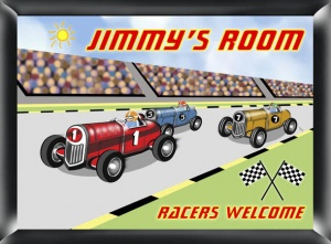 Personalized Racer Room Sign image