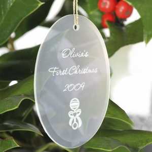 Personalized Glass Oval Christmas Ornament (15 Designs) imagerjs