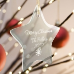 Personalized Glass Star Christmas Ornament (15 Designs)