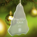 Personalized Glass Christmas Tree Ornament (15 Designs)