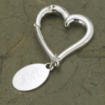 Personalized Heart Shaped Key Chain with Oval Tag