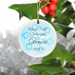 Personalized Baby Boy First Christmas Ornament