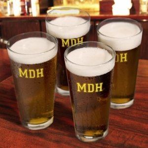 Monogrammed Pint Glass Set (3 Designs - 10 Colors) imagerjs