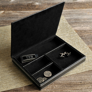 Personalized Deluxe Leather Valet imagerjs