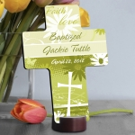Personalized Baptism Cross with Stand (7 Colors)