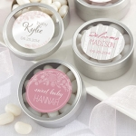 Personalized Rustic Baby Shower Favor Candy Tins