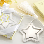 Silver Metal Star Shaped Bookmark with White Silk Tassel