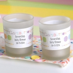 Personalized Cute As A Button Frosted Glass Votives