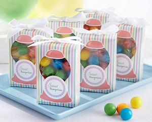 Multi-Colored Pinstripe Box filled with Gumballs imagerjs