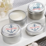 Personalized Nautical Baby Shower Travel Candle Favors