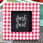 Red Gingham Fabric Photo Frame Favors