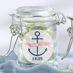 Personalized Nautical Shower Glass Favor Jars (Set of 12)