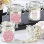 Personalized Rustic Glass Baby Shower Favor Jars (Set of 12)