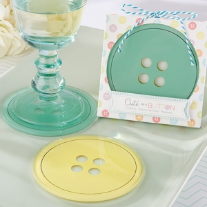Cute as a Button Glass Coaster Baby Shower Favors imagerjs