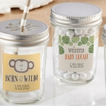 Personalized Born to be Wild Baby Shower Mason Jars