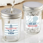 Personalized Nautical Baby Shower Mason Jars (Set of 12)