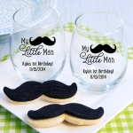 Personalized My Little Man Printed Stemless Wine Glass Favor