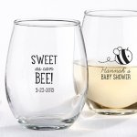 Personalized 'Sweet As Can Bee' Shower Stemless Glasses