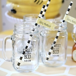 Personalized 'Sweet as can Bee' Baby Shower Mason Mugs
