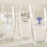 Personalized Religious Stemless Champagne Glass Favors