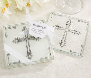 Blessings Glass Coasters with Cross Motif imagerjs