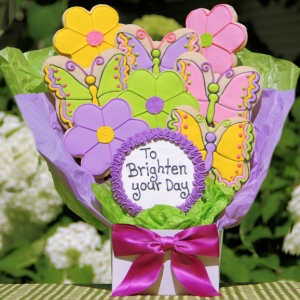 To Brighten Your Day Butterfly & Flower Cookie Gram imagerjs