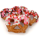 Heart Sprinkled Chocolate Dipped Pretzel Twists