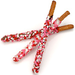 Chocolate Dipped Pretzels - Heart Sprinkles