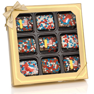 Patriotic Chocolate Dipped Mini Krispies Gift Box imagerjs
