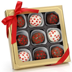 Romantic Hearts Belgian Truffle Cake Bons - Box of 9