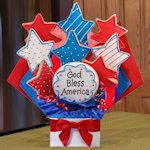 Stars and Stripes Patriotic Cookie Bouquet