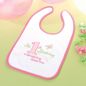 First Pink Birthday Bib imagerjs