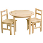 Natural Round Wood Table Set