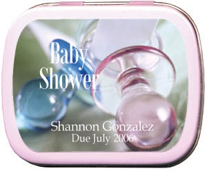 Filled Pink and Blue Pacifier Baby Shower Tins imagerjs